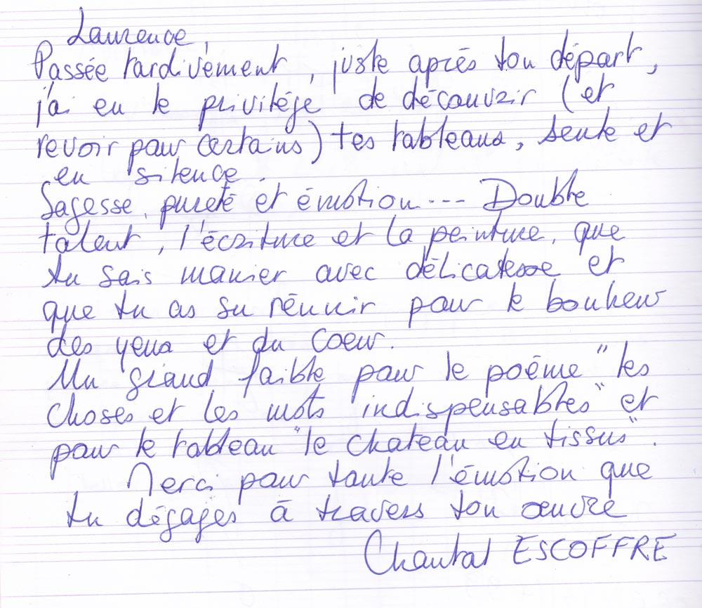 Chantal Escoffre lettre
