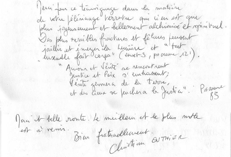 lettre Christian Outier